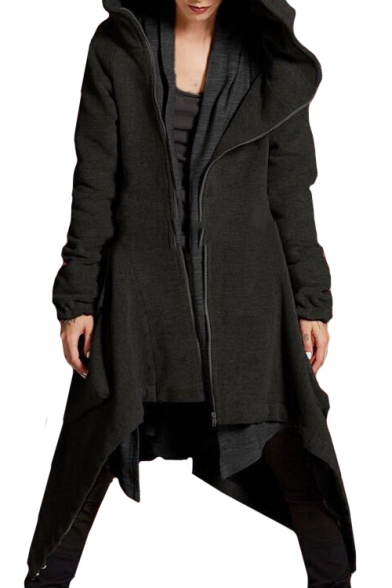 Popular Long Sleeve Plain Asymmetric Hem Zip Up Hooded Coat