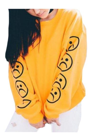 Sad Face Print Round Neck Long Sleeve Pullover Sweatshirt