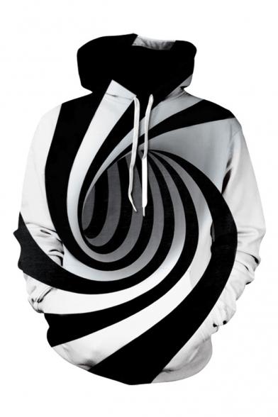 Unique 3D Digital Whirlpool Printed Long Sleeve Black and White Hoodie