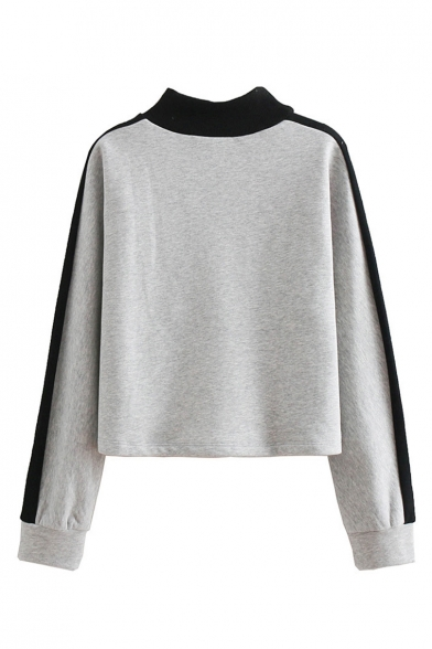 Vintage Color Block Letter Print Mock Neck Long Sleeve Sweatshirt