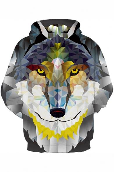 3D Wolf Geometric Pattern Casual Unisex Hoodie