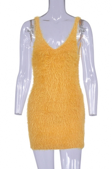 Chic V Neck Sleeveless Plan Mohair Mini Bodycon Dress