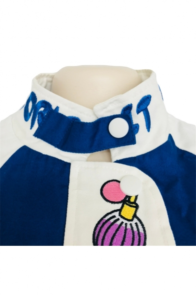 Color Block Stand Collar Letter Embroidered Long Sleeve Zip Up Cropped Jacket