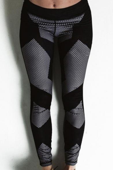 Contrast Plaid Print Elastic Waist Yoga Sports Leggings