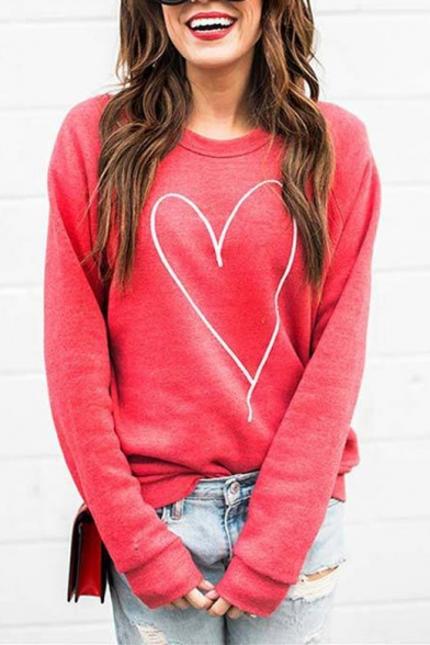 Heart Embroidered Round Neck Long Sleeve Casual Sweatshirt