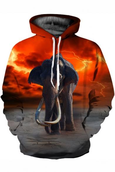 Lightning Elephant Print Long Sleeve Loose Hoodie