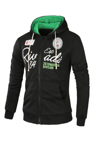 Logo Patched Letter Printed Long Sleeve Zip Up Regular Fitted Hoodie