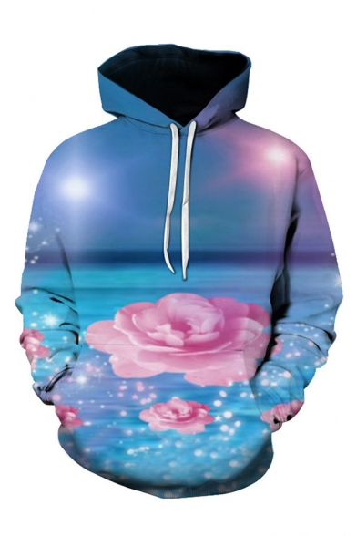 New Fashion 3D Rose Pattern Long Sleeve Casual Loose Hoodie