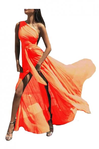 One Shoulder Plain Sleeveless Split Front Maxi A-Line Chiffon Dress