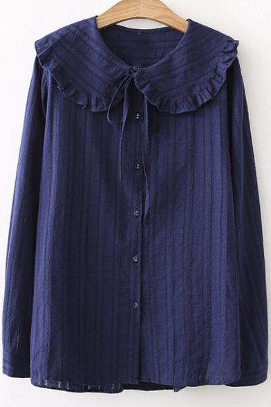 Plain Doll Collar Long Sleeve Button Front Leisure Linen Blouse LC487955 фото