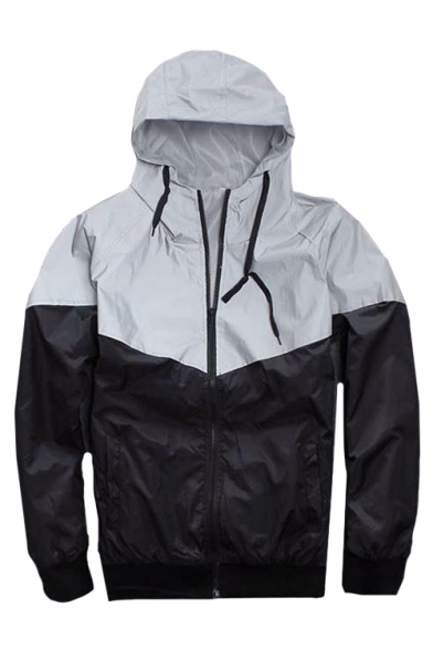 3M Reflective Patchwork Long Sleeve Zip Up Hooded Track Jacket