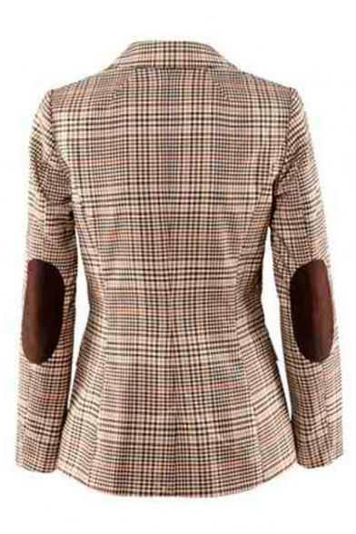 Classic Plaid Button Front Notched Lapel Collar Long Sleeve Elbow Patch Blazer