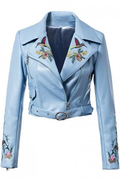 Floral Bird Embroidered Notched Lapel Collar Long Sleeve Offset Zip Closure Cropped Leather Jacket