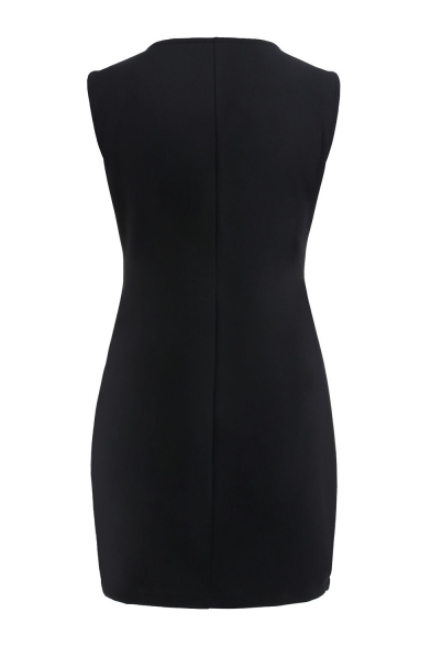 Lace Patchwork V Neck Sleeveless Asymmetric Hem Mini Pencil Dress