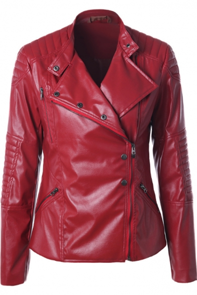 Quilted Stand Collar Long Sleeve Plain Offset Zipper Front Slim Leather Jacket