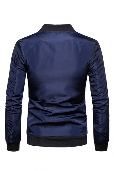 Simple Solid Long Sleeve Stand Collar Regular Fitted Zip Up Jacket