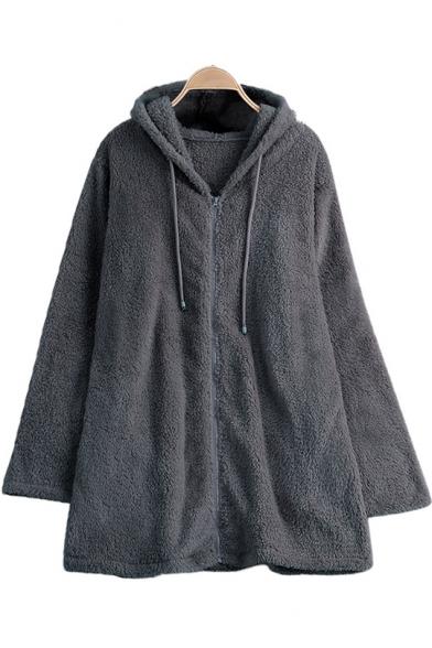 Zipper Front Plain Faux Fur Long Sleeve Hooded Coat