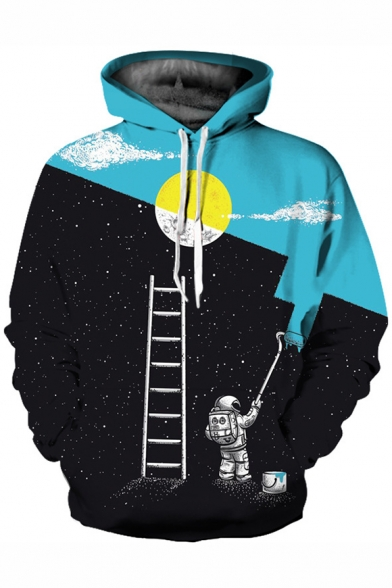 Color Block Drawing Astronaut Print Long Sleeve Casual Hoodie