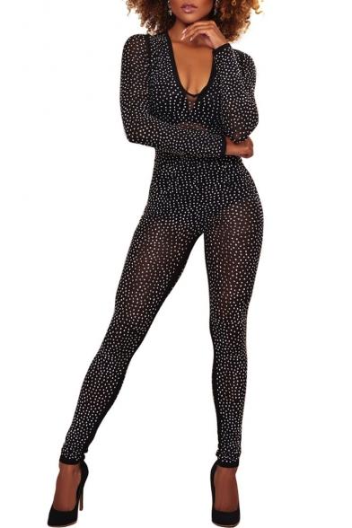 crazy price colours and striking fine craftsmanship Fashion Diamante V Neck Long Sleeve Slim Mesh Jumpsuit