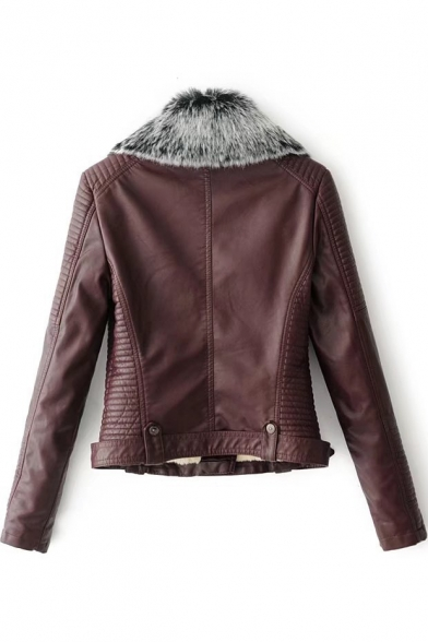 Faux Fur Collar Long Sleeve Offset Zip Closure Cropped Leather Jacket