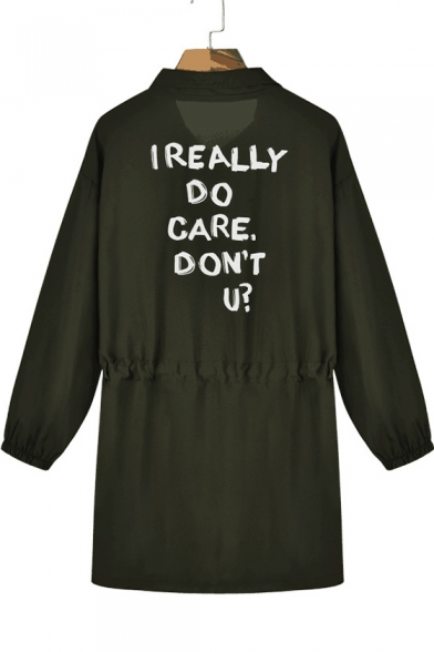 I REALLY DO CARE Letter Print Lapel Collar Long Sleeve Drawstring Waist Trench Coat