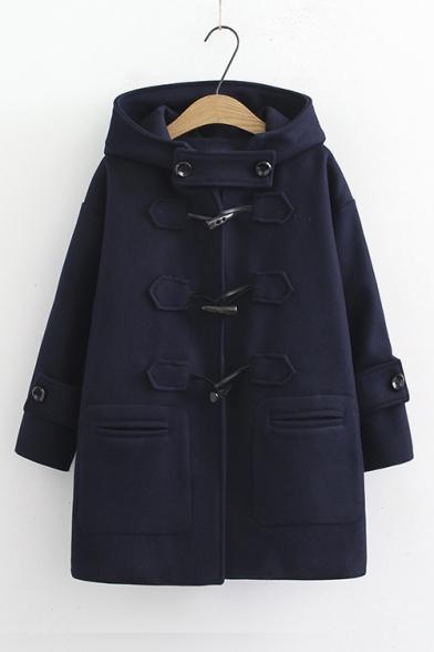 Plain Long Sleeve Hooded Duffle Coat with Throat Guard