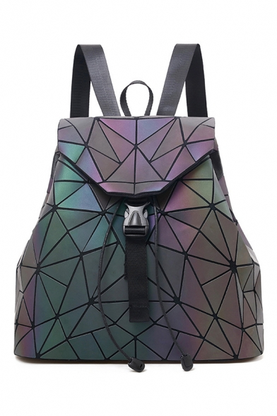 Popular Geometric Buckle Straps Fastening Leisure Backpack School Bag