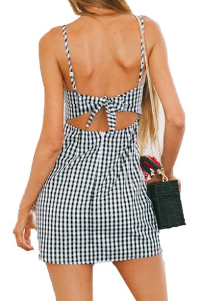 Retro Plaid Spaghetti Straps Sleeveless Button Front Hollow Out Back Mini Cami Dress