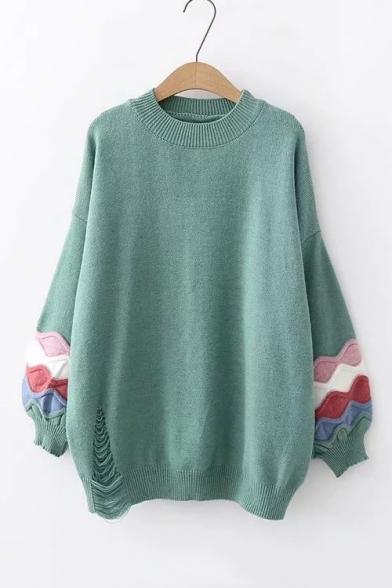 Купить со скидкой Round Neck Contrast Wave Patch Lantern Sleeve Loose Sweater