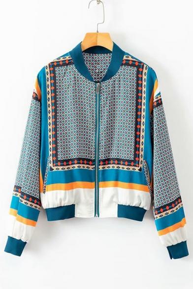 Stand Collar Geometric Floral Print Zip Up Long Sleeve Baseball Jacket