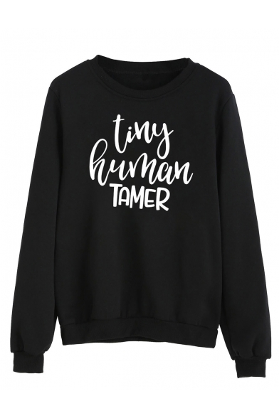 TINY HUMAN Letter Print Round Neck Long Sleeve Pullover Sweatshirt