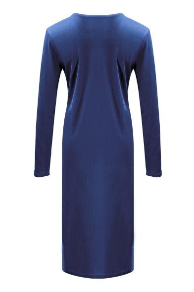 Essential Round Neck Long Sleeve Plain Split Side Ribbed Midi Slim Dress