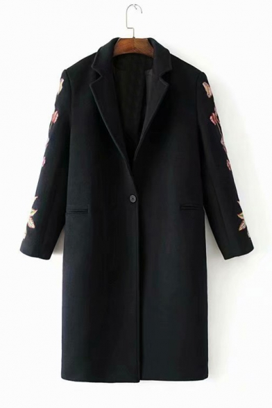 Floral Embroidered Long Sleeve Notched Lapel Collar Single Button Tunic Woolen Coat, LC489026