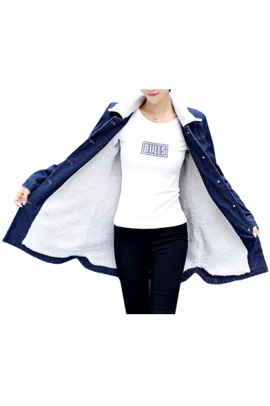 Lapel Collar Long Sleeve Button Front Sherpa Lined Denim Coat