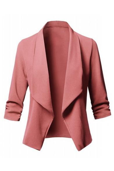 Lapel Collar Plain Long Sleeve Pleated Detail Open Front Blazer