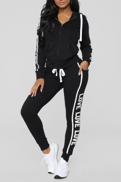 Letter Contrast Striped Print Zip Up Hooded with Drawstring Waist Slim Pants Co-ords