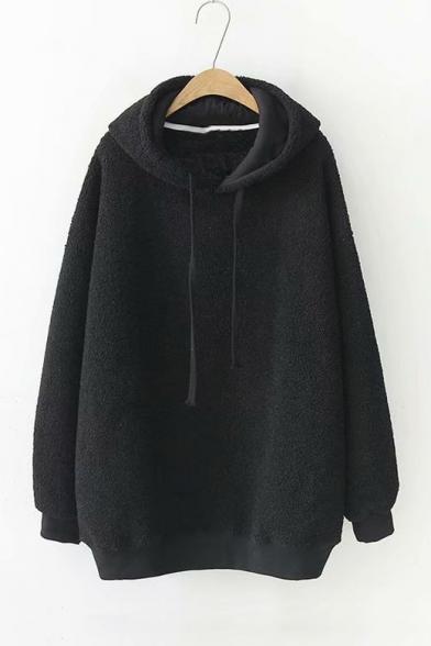 Long Sleeve Drawstring Hood Plain Plush Casual Hoodie