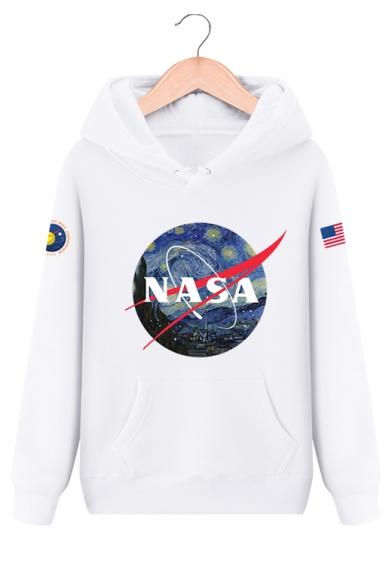 Купить со скидкой NASA Letter Graphic Print Long Sleeve Hoodie with Kangaroo Pocket