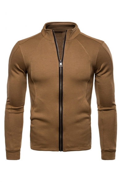 Stand Collar Long Sleeve Plain Zip Up Slim Jacket for Men