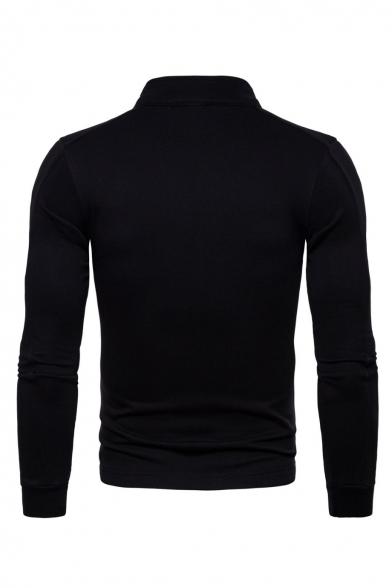 Stand Collar Long Sleeve Plain Zip Up Slim Jacket for Men