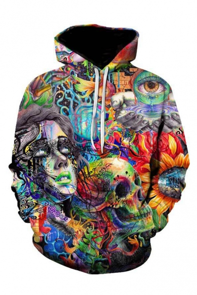 Stylish 3D Graffiti Skull Printed Long Sleeve Casual Hoodie