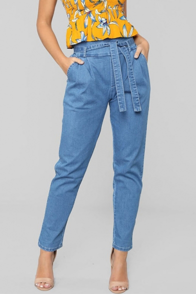 Vintage Belt High Waist Plain Tapered Jeans
