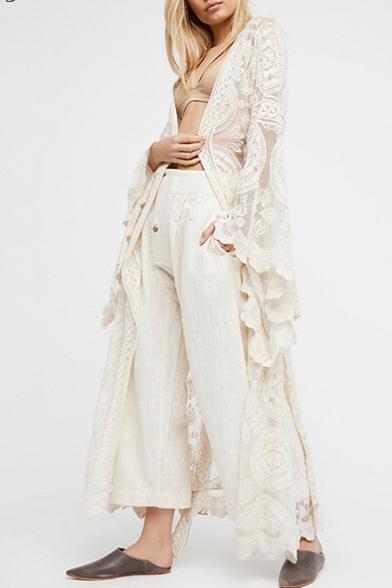 Chic Sheer Lace Collarless Long Sleeve Tunic Coat