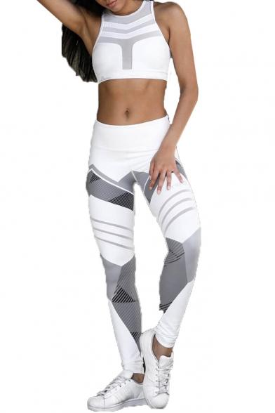 Color Block Geometric Elastic Waist Yoga Leggings