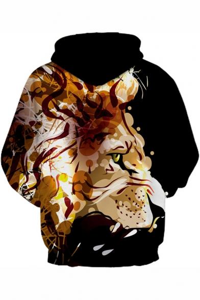 Cool 3D Lion Pattern Drawstring Hood Long Sleeve Unisex Hoodie