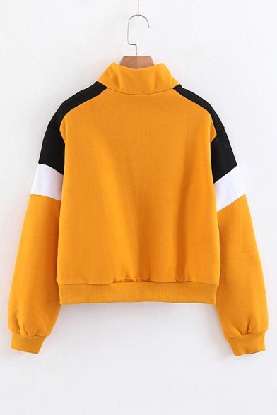 Half-Zip Stand Collar Color Block Long Sleeve Sweatshirt