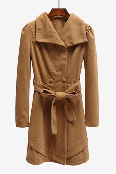 Lapel Collar Plain Double Breasted Long Sleeve Tie Waist Tunic Woolen Coat, LC488306, Khaki;army green