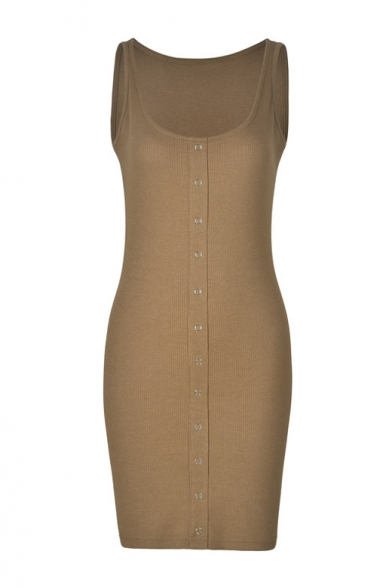 Round Neck Sleeveless Button Front Mini Bodycon Dress