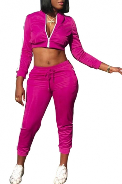 Stand Collar Zip Up Long Sleeve Cropped Jacket with Drawstring Waist Slim Pants Co-ords