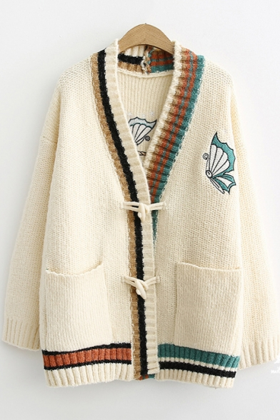 Image of Anchor Butterfly Embroidered Contrast Trim V Neck Long Sleeve Button Front Tunic Cardigan